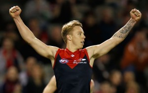 MELBOURNE, AUSTRALIA - SEPTEMBER 6: James Harmes of the Demons celebrates during the 2015 AFL round 23 match between the Melbourne Demons and the GWS Giants at Etihad Stadium, Melbourne, Australia on September 6, 2015. (Photo by Michael Willson/AFL Media)