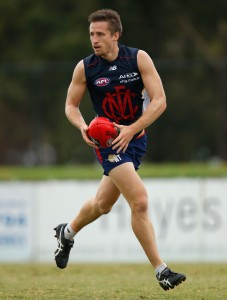 MELBOURNE, AUSTRALIA - FEBRUARY 19: Jack Grimes of the Demons in action during the Melbourne Demons intra-club match at Casey Fields in Melbourne on February 19, 2016. (Photo by Michael Willson/AFL Media)