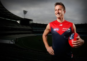 MELBOURNE, AUSTRALIA - FEBRUARY 4: Jack Grimes poses for a photograph during the Melbourne Demons official team photo day at the MCG in Melbourne on February 4, 2016. (Photo by Michael Willson/AFL Media)